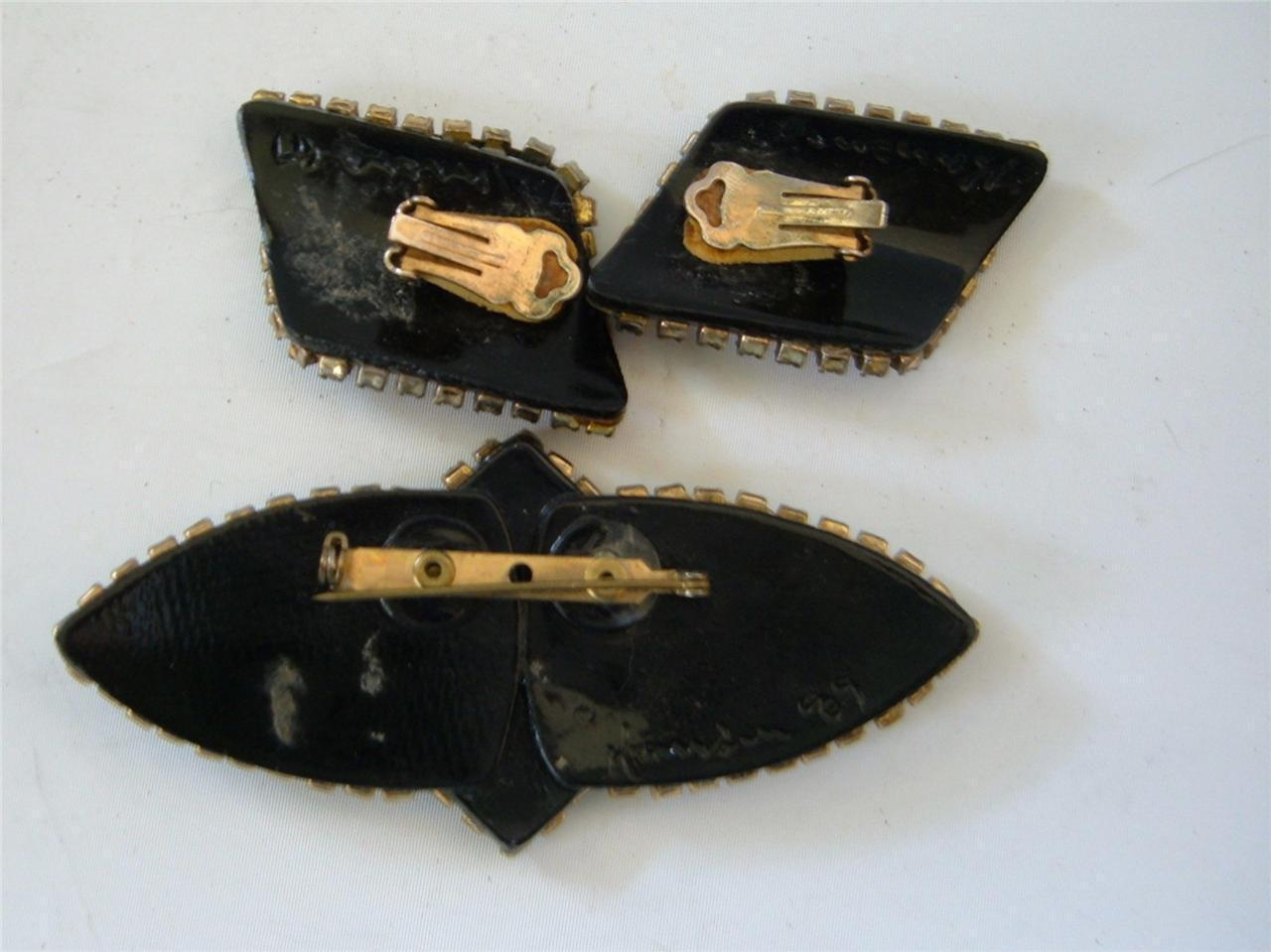 Vintage Multi Color Rhinestones Beads Inlay Brooch Earrings Set Artisan Signed