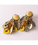 Chipita Bohemian Boho Earthy Verdigris Green Dangle Leaf Earrings - $24.75