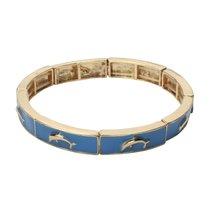 Inspired Silver Gold Tone Finish Dolphin Charm Blue Enamel Design Stylis... - $24.45