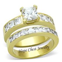 HCJ WOMEN'S GOLD TONE 1.3 CT PRINCESS CUT CZ ENGAGEMENT WEDDING RING SET... - $22.99