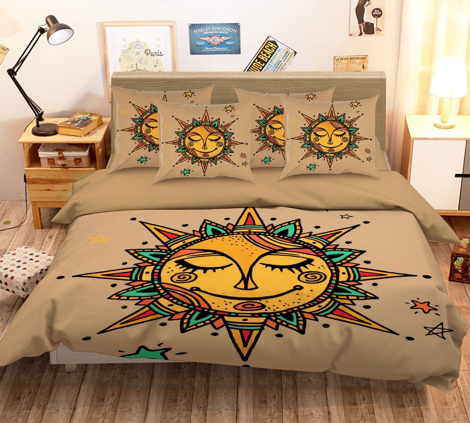 Primary image for 3D Sun Face 126 Bed Pillowcases Quilt Duvet Single Queen King US Summer