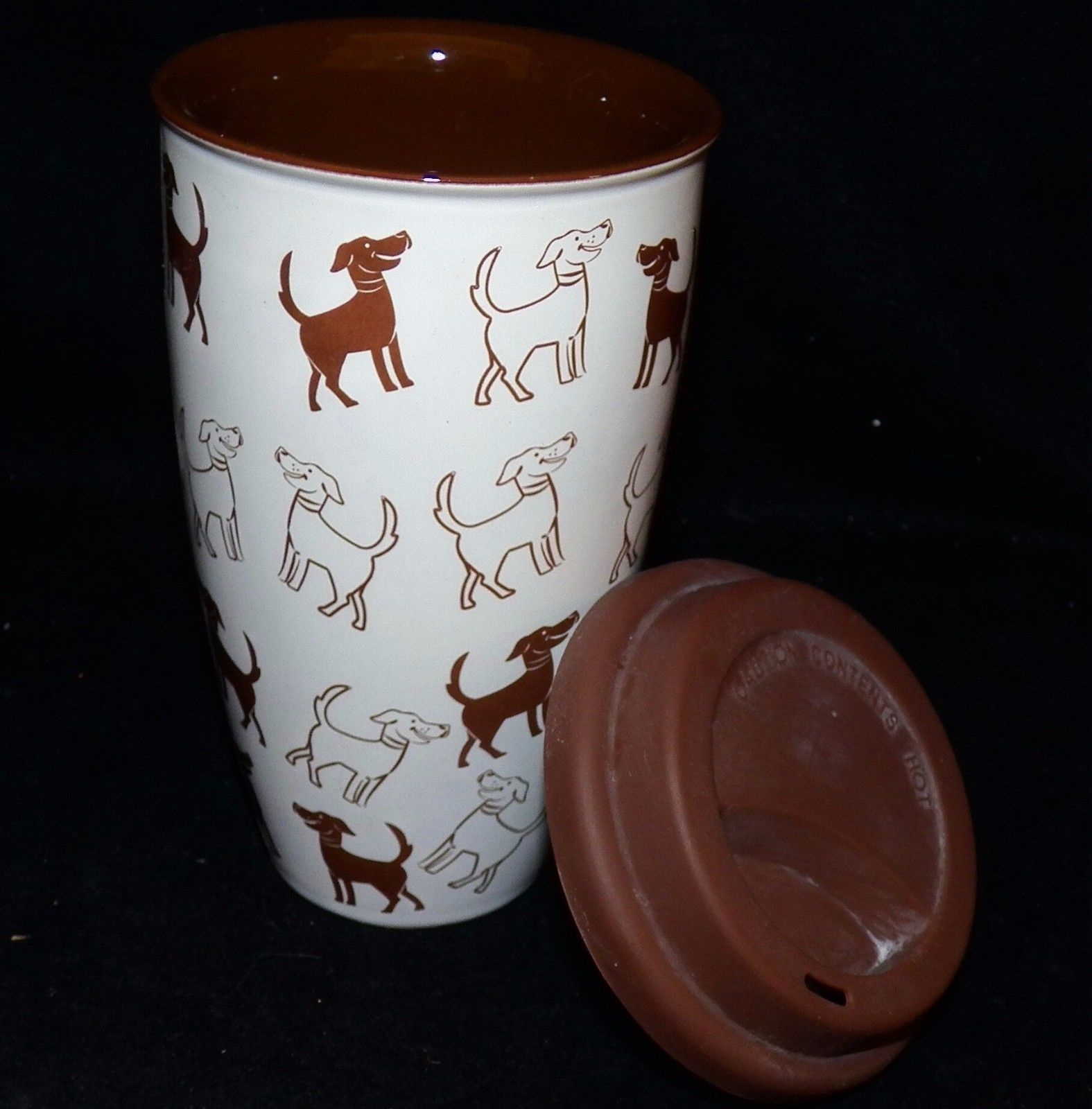 Coldwater Creek Brown Dogs Ceramic Silicone Lid Travel