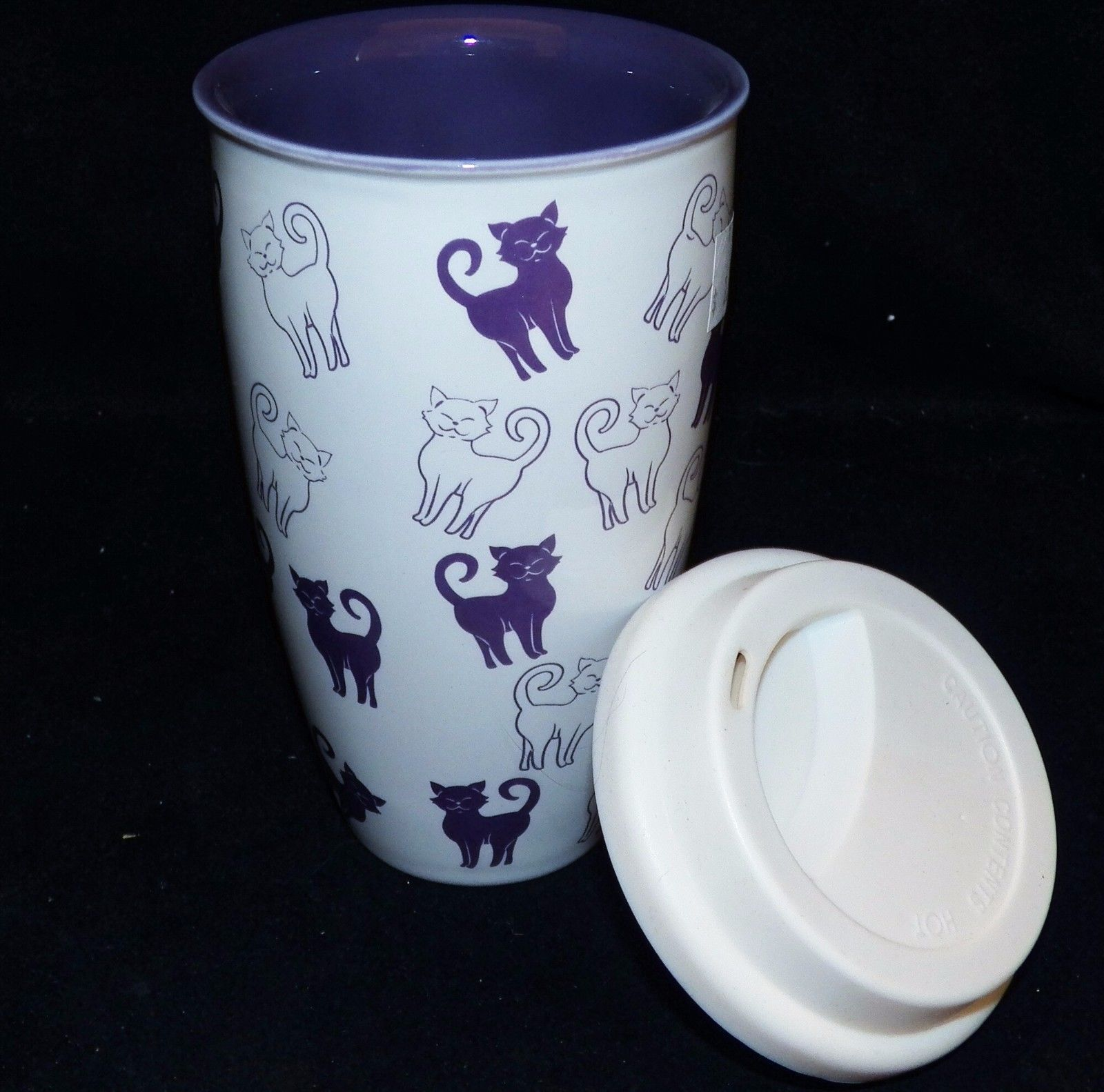 Coldwater Creek Purple Cats Kitties Ceramic Silicone Lid