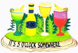 Parrot Head It's 5 O'clock Somewhere With Cocktails Margaritas Tiki Bar Sign - $19.79