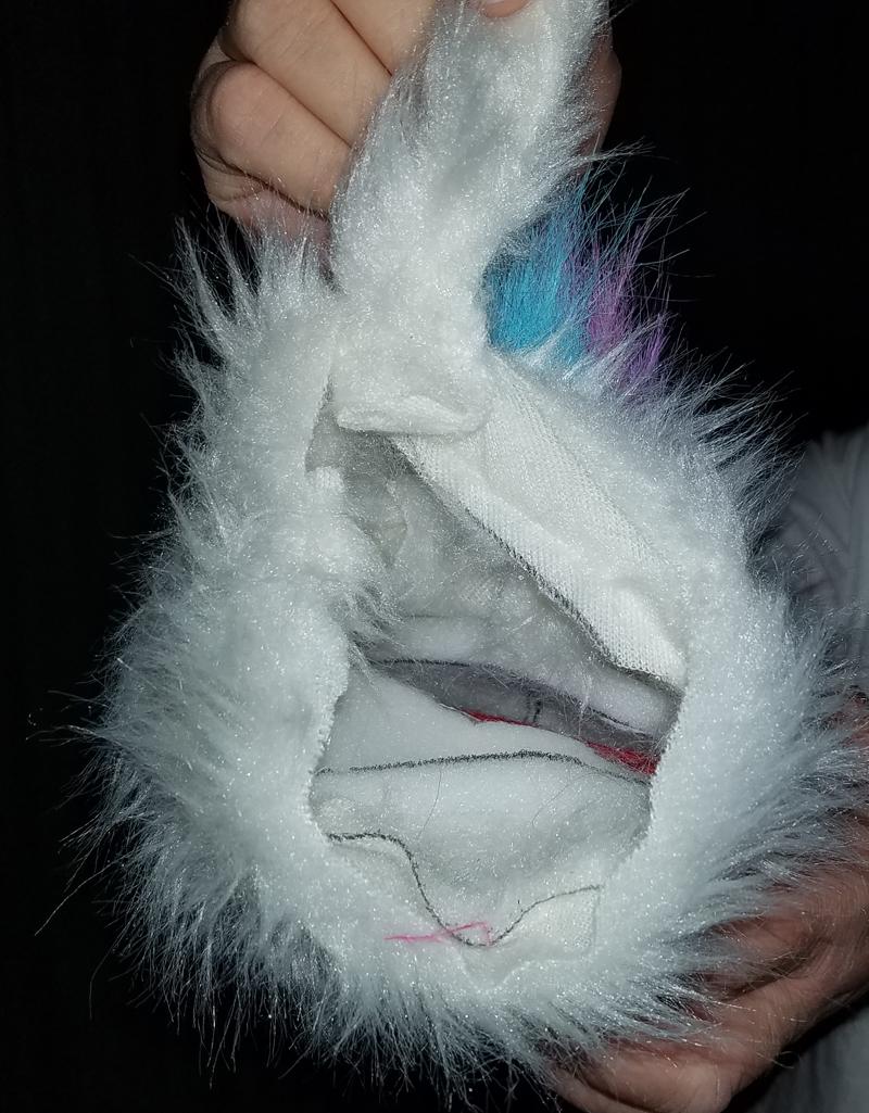 "Professional White ""FurGoblin"" w/Stripe Muppet Style Ventriloquist Puppet *  B8"