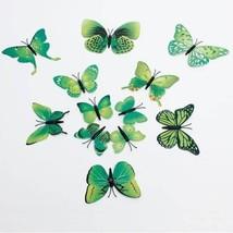 3D Wall Sticker Green Butterfly 12pcs Set Magnet Living Room Bedroom Dec... - $14.20