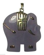10k Yellow Gold Lavender Elephant Jade Pendant - $100.00