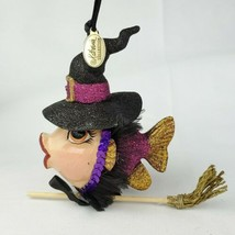 Katherine's Collection Witch Kissing Fish on Broom Glitter Halloween Orn... - $19.80