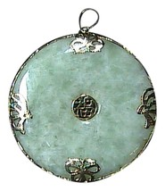 "14k 585 Apple Green Butterfly Medallion "" Good Fortune "" Jade Pendant (I... - $200.00"