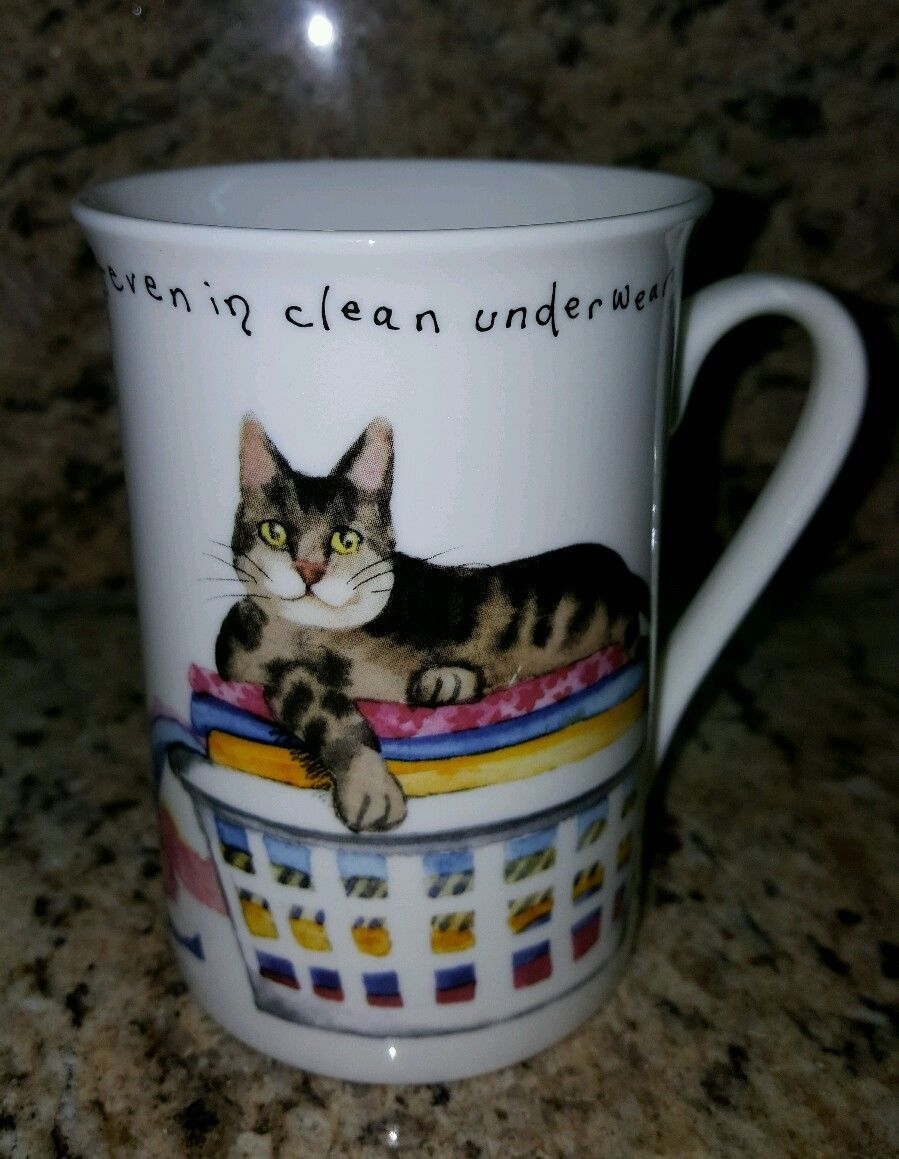 """KENT POTTERY Fine China Cat Mug  """"Cats Sleep Anywhere Even in Clean Underwear"""" - $14.99"""