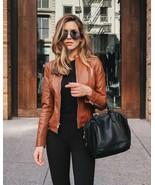 Women's Genuine Lambskin Leather Motorcycle Slim fit Designer Biker Jack... - $104.45