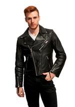 Men's Genuine Lambskin Leather Jacket Black Slim fit Motorcycle Biker jacket - $69.29+