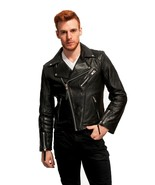 Men's Genuine Lambskin Leather Jacket Black Slim fit Motorcycle Biker ja... - $69.29+