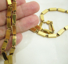 Monet Shiny Gold Plate Link Necklace Strand Rectangles Vintage Estate Cl... - $15.79