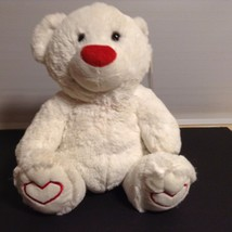 PLUSH PALS PLUSH WHITE BEAR WITH RED HEARTS ON FEET NWT - £5.84 GBP