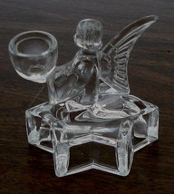 Nice Pressed Glass Angel on Star Candlestick Holder, VERY GOOD COND - $16.82
