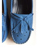 Blue Fringe Leather Loafers Shoes Beacon Reflections Scottie Size 6M Sof... - $19.75