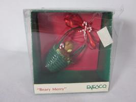 Enesco Miniature Beary Merry Ornament Bear In Basket  - $6.92