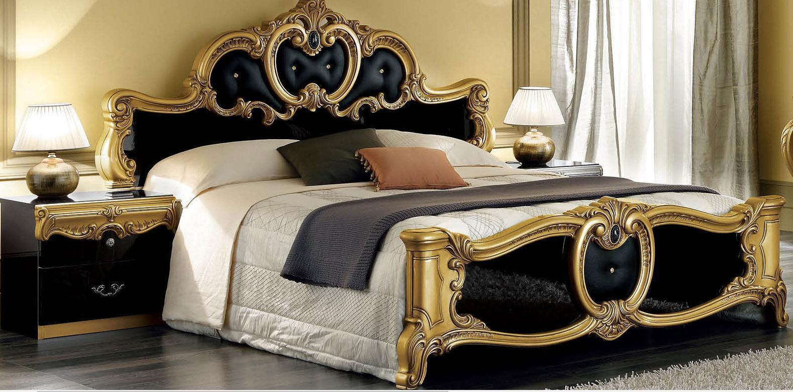 Esf Barocco Black And Gold Queen Size Bedroom Set 5pcs Made In Italy Classic