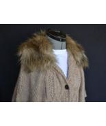 LOFT Sweater Fur Trim S NWT Wool Blend Belt Button front Short Sleeve GO... - $99.00