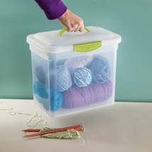 Plastic Container Box Storage Carrying Unit Home Office Organizer Handle... - $48.99