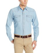 Wrangler Men's Retro Long Sleeve Western Shirt, Light Indigo, L - $39.95