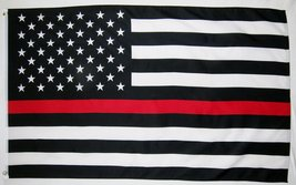 Thin Red Line Fire Fighter USA Flag 3' X 5' Indoor Outdoor Banner - $9.95