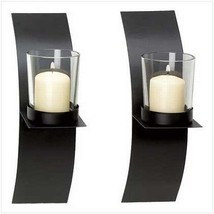 Pair Wall Candle Holders Sconce Plaque Decor Modern Art Iron Home Set - $16.63