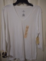 Women's St. John's Bay 3/4 Sleeve Shirt  X-Large White  NEW - $9.90