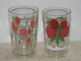 2 Vintage Swanky Swig Juice Glasses Pink Floral and Strawberry - $9.99