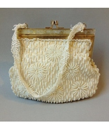 Winter White Beaded Purse Satin Evening Hand Bag Cream Gold Metal Frame Vintage - $32.00