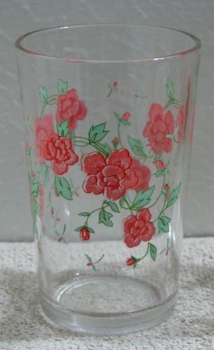2 Vintage Swanky Swig Juice Glasses Pink Floral and Strawberry