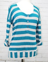 Spendid Roll Sleeve Teal/Metallic Stripe Knit Henley Shirt - Lightweight... - $24.26
