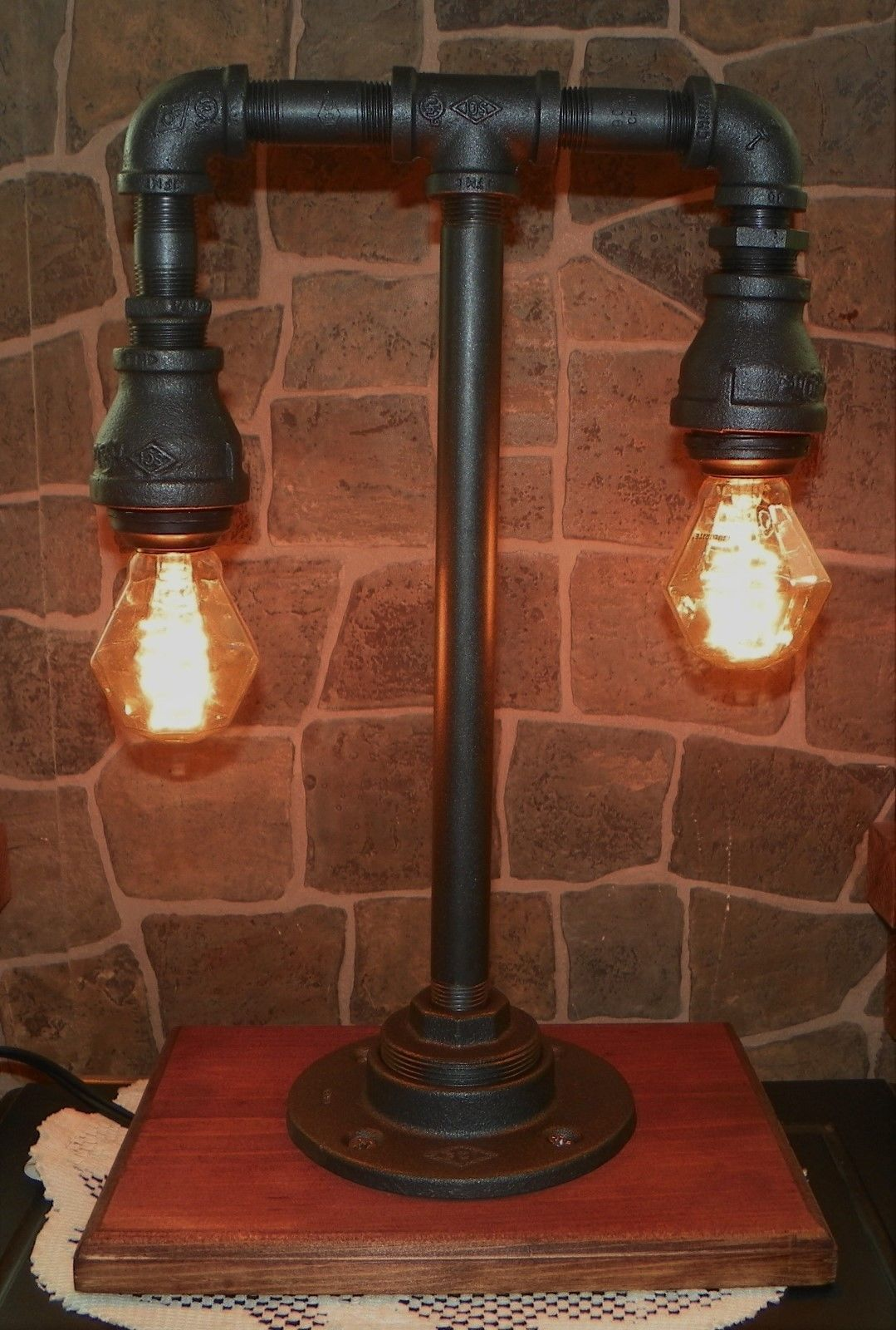 Iron Table Lamps : Vintage style industrial iron pipe tier table lamp