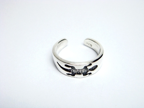 925 Sterling Silver Gecko Oxidized Adjustable Toe Ring