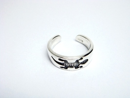925 Sterling Silver Gecko Oxidized Adjustable Toe Ring - $11.00