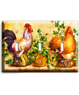 COUNTRY FARM ROOSTER CHICKENS RUSTIC TRIPLE LIG... - $17.98