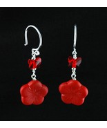 Sterling Silver Earrings_Glass Flowers and Red Butterfly Crystals - $20.00