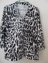 ZENERGY BY CHICO'S Stretchy Zip Front Black White Print 3/4 Sleeve Jacke... - $23.17