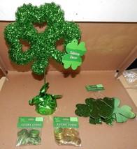 """St.Patricks Day Decor Shamrock 16 """"x 10"""" 2 pks Lucky Coins 4pc 6"""" Clover... - €12,30 EUR"""
