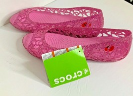 New Crocs Womens Sz 6 Pink Sparkle Slip On Flat Shoes Peep Toe Sandals - $27.76