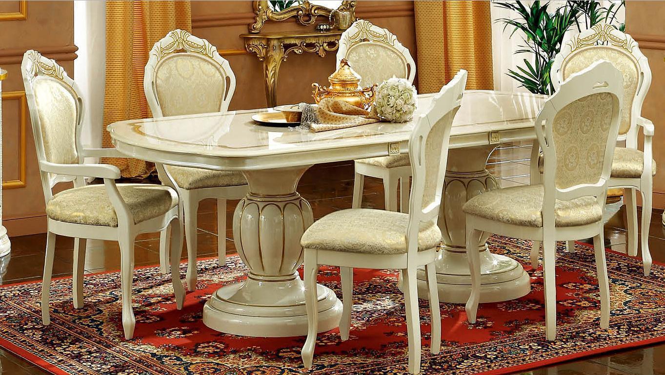 Esf Leonardo Ivory Glossy Finish Dining Room Set 7 Pcs