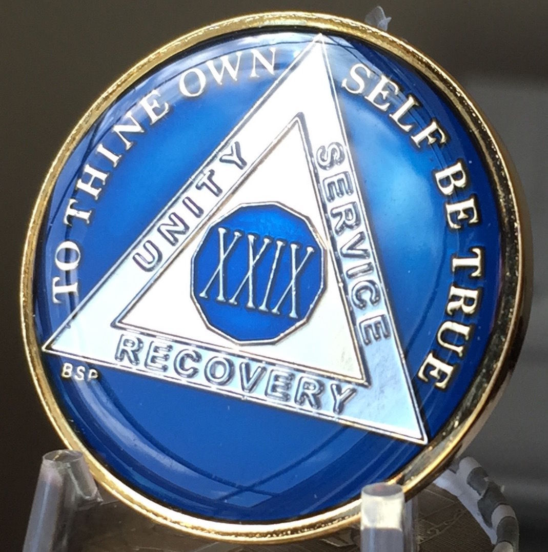 2 Year Midnight Blue AA Medallion Alcoholics Anonymous Chip Gold Tri-Plate two