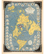 1942 Flat Earth Map Story of Flying Polar Azimuthal Equidistant Projecti... - $12.87+