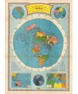 1946 Flat Earth Air Age Map of the World Azimuthal Equidistant Polar Pro... - $12.87+