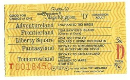 Walt Disney World Adult D Attraction used Ticket Vintage Rare 70's - $18.70