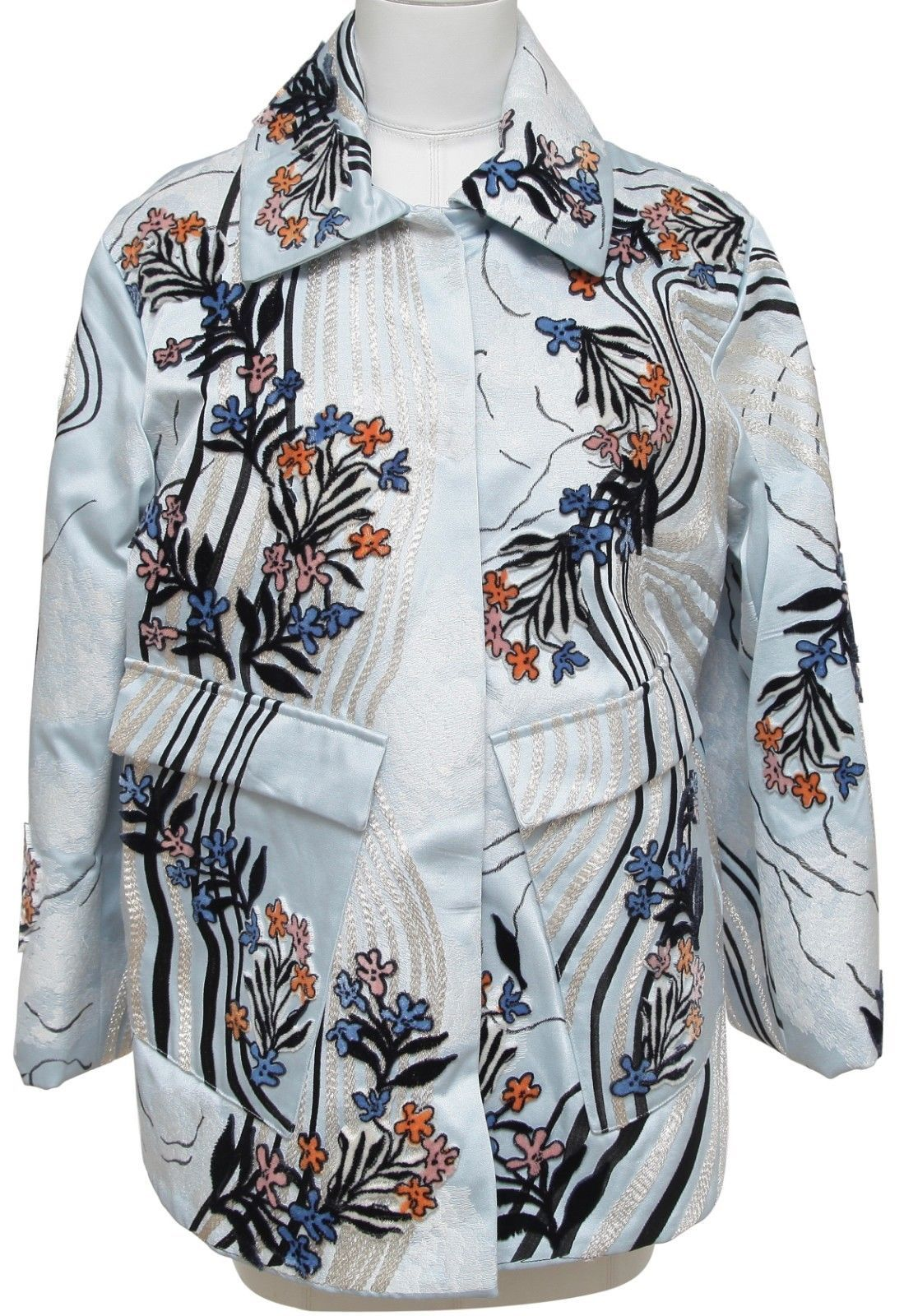 Primary image for H&M CONSCIOUS Coat Jacket Blue Velvet Floral Embroidery Long Sleeve S BNWT