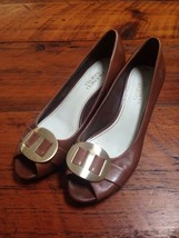 Franco Sarto Brown Leather Brass Buckle Peep Toe Heels Dress Shoes 7.5M 38 - $17.49