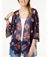 Polly & Esther Juniors' Blue Open Front-Self Tie Floral Printed Kimono N... - $7.39