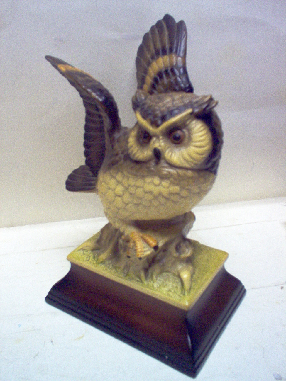 CERAMIC OWL FIGURINE  MARKED   H.K. JAPAN